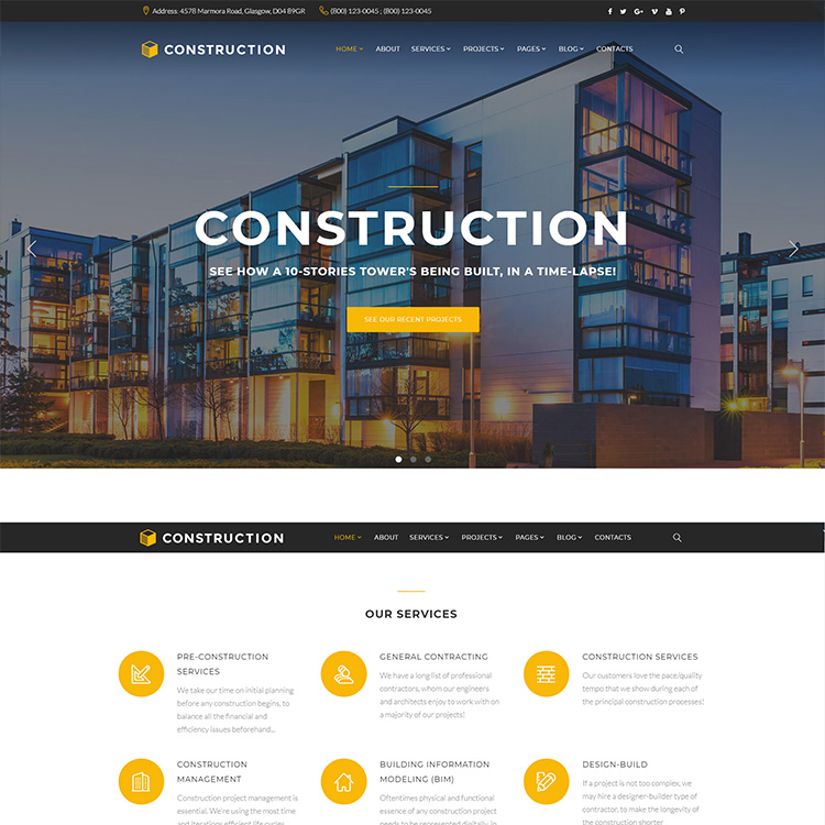Construction Website Design - Responsive - SEO Friendly