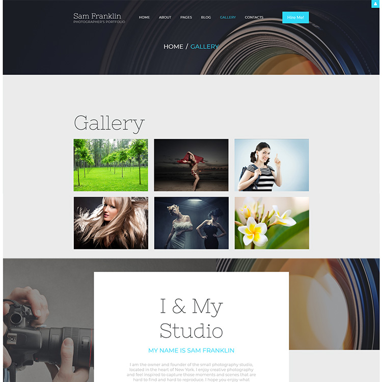 Photo Gallery Website Design